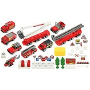 Brave Fire Fighters 40 Piece Mini Diecast Childrens Kids Toy Vehicle Playset w/ Variety of Vehicles Accessories
