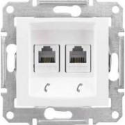 SEDNA Kettes telekommunikációs aljzat Rj11 IP20 Fehér SDN4201121 - Schneider Electric