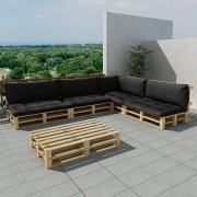 vidaXL Set 15 pz seduta da giardino con pallet in legno e 9 cuscini grigio