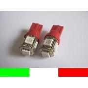COPPIA LAMPADINE LAMPADE 5 LED ROSSO RED T10 W5W BR