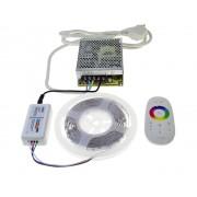 Ledstar kompletná sada 12m farebný RGB LED pásik, SMD5050, 30Ledm 7,2Wm dotykový RF ovládač montážny interiérový zdroj 12V 150W