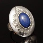 Bijoux Touareg Ethniques Africains Bague en Argent Lapis Lazuli 18 Homme/Femme Ovale ( Taille 48 )