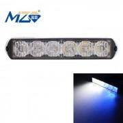 MZ 18W blanco + azul 6-LED parpadeante luz de advertencia de coches - Negro (12 ~ 24V)