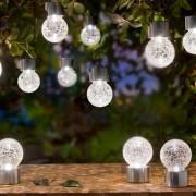 Esotec LED Solar Hängeleuchten Crackle Ball, 12er Set
