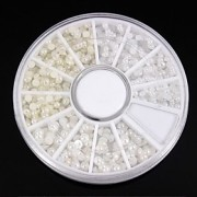 1200pcs mix tamanhos brancoamp;roda de marfim pérola nail art decoração