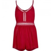 River Island Womens Red ladder lace trim beach playsuit