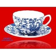 Anykam Blaue Blumen Old english 5371 Fine Bone Porzellan Set Teller+ Tasse 400ml