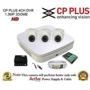 CP Plus CP-UVR-0401E1S-V3 Mini 4CH DVR 1Pcs + CP Plus CP-VCG-SD13L2 1.3MP Dome Camera 3Pcs + 1TB HDD + Active Copper Cable + Active Power Supply Full Combo Kit.