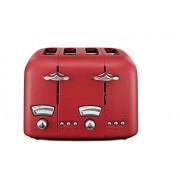 DELONGHI CT04R Argento Toster, 4 tosty, 1600 W, Extra Lift, 6 stopni przyrumienienia, funkcja rozmrażania