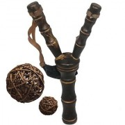 Wooden Crotch / Fork / Sling Shot with 6 Pieces Vine Balls Set (Chocolate)
