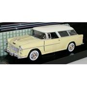 MotorMax 1/24 Scale Metal Model 73248 - 1955 Chevrolet Bel Air Nomad - Yellow