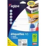 Agipa Etiquettes - Étiquettes Adhésives Permanentes - Blanc - 12 X 18.3 Mm 1792 Étiquette(S) ( 16 Feuille(S) X 112 )