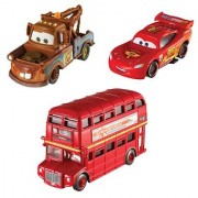 Cars 2 Collector Double Decker Bus Mater and Lightning McQueen Vehicle 3-Pack