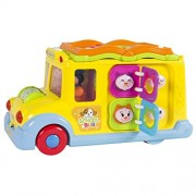 Best Choice Products Toy Educational Musical Yellow School Bus Bump and Go, Headlights, Music and Games