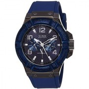 GUESS Blue Silicone Round Dial Quartz Watch For Men (W0248G5)