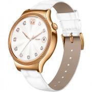 Smartwatch 44MM Otel Inoxidabil Auriu Si Curea Piele Alba Swarovski Zircon Huawei