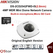 Hikvision Original English Security Camera DS-2CD2542FWD-IS(2.8mm) 4MP Dome IP CCTV Camera IP67 POE built in microphone+16G Card