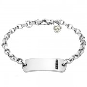 Mens ID Bracelet with Black CZ by Hoxton London (Engraving Available)