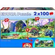 Educa - 15620 - Puzzle - Dino World - 2 x 100 Pièces