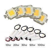 Kit piastra Led + led driver alimentatore fari led luce calda 3000 k da 10-20-30-50-100 watt