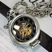 Masculino Relógio de Bolso Mecânico - de dar corda manualmente Gravação Oca Lega Banda Prata marca-