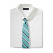 ランズエンド LANDS' END メンズ・シルクコットン・モガドール・プレップ・ストライプ・タイ/ネクタイ(ライトアクアマリンストライプ)