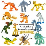 "BigNoseDeer 4"" Carton Dinosaur Figures with Forest Animals Set, 12 Piece Wild Pastic Animal and Dino Party Favors Toys Playset"
