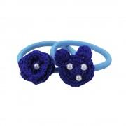 Set elastice de par, fetite, Buticcochet, crosetate manual, cu Urs si Floare Albastru