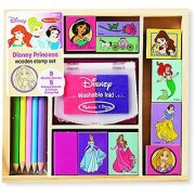 Melissa & Doug Disney Princess Wooden Stamp Set: 9 Stamps 5 Colored Pencils and 2-Color Stamp Pad