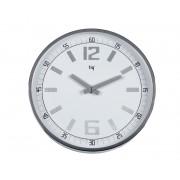 Ceas rotund de perete, D-300mm, cifre arabe, TIQ - rama metal/plastic gri - dial alb