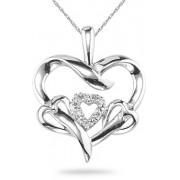 Four Hearts Diamond Pendant, 14K White Gold