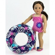 18 Inch Doll Swimwear Hot Pink Polka Dot Bathing Suit & Summer Inner Tube Perfect Summer Fun for your 18 Inch American Girl Doll Clothes & More! Polka Dot Bathing Suit with Pool Toy