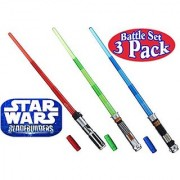 Star Wars Darth Vader Luke Skywalker & Obi-Wan Kenobi Electronic BladeBuilder Extendable Lightsabers Battle Set Bundle