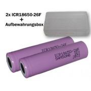 Samsung SDI ICR18650-26F_X2 Pilas de ion de litio regargables para cigarrillos electrónicos ( 3,7 V, 2600 mAh, 2 unidades, incluyen estuche )