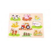 Nuovi giocattoli classici - 2042923 - Puzzle con telaio con bottoni - Fattoria
