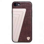 NILLKIN Hybrid Case for iPhone 7 Retro Style Crocodile Texture Leather + Creative 7-shaped Metal Surface PC Protective Case Back Cover with Soft TPU Frame(Brown)
