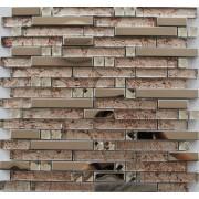 Maxwhite JSM-JB041 Mozaika skleněná nerezová stříbrná hnědá 30x30cm