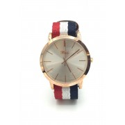 Spy Henry Lau Leather & Color Cotton Strap Classic Wrist Watch Red/Blue/White SP788AC69RCCHK
