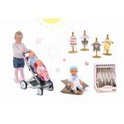 Smoby cărucior de jucărie Maxi Cosi & Quinny Twin şi păpuşă cu hăinuţe Baby Nurse 521590-1