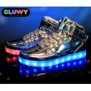 Svietiace botasky Sneakers - strieborné