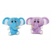 Tickles Blue, Purple Cute Colourful Baby Elephant (Pack Of 2) Stuffed Soft Plush Toy 14 cm