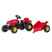 Traktor na pedale sa prikolicom crveni RollyKid