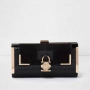 River Island Womens Black panel padlock detail clip top purse