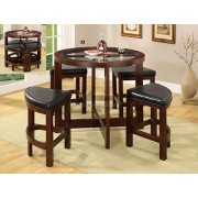 5 pc. crystal cove i dark walnut wood finish round counter height table with glass table top set