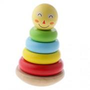 Juguetes de Educación Temprana Sonrientes Anillos de Apilamiento Madera Rainbow Tower Stacker Niños