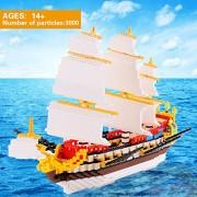 El antiguo Velero Modelo Micro Bloque de construcción del grupo - Diamond Building Blocks juguetes de la inteligencia (Ancient Sailboat Model)