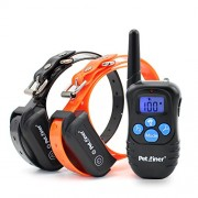 Petrainer PET998DBB2 Dog Shock Collar Waterproof and Rechargeable 330 yd Remote Dog Training Collar with Beep/Vibra/Shock Electric E-collar