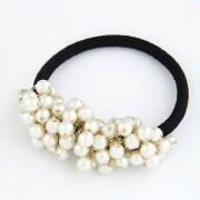 BAGISIMO Gumička s bílými perlami