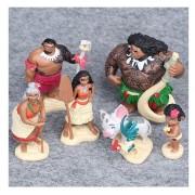 6pcs / Set 6-12cm Moana Princesse Maui Chef Tui Tala Heihei Pua Figure D'action Brinquedo Toys For Children Gift