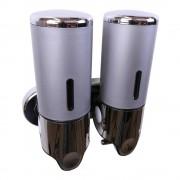 Zeepdispenser Zilver | Grijs met 2 reservoirs van elk 400 ml